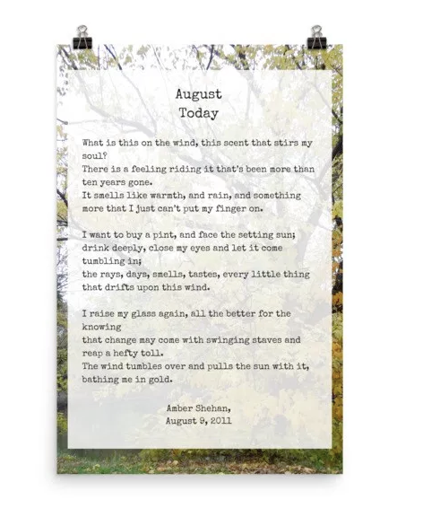 August Today poem - product on pixiespocket.com
