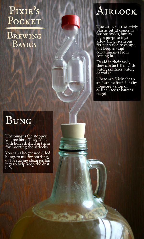 pixiespocket.com brewing basics equipment airlock bung, 1 gallon mead recipe