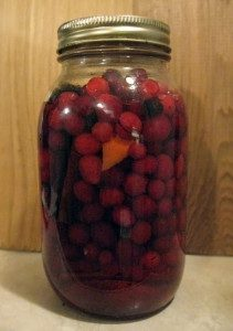 jar of cranberry cordial