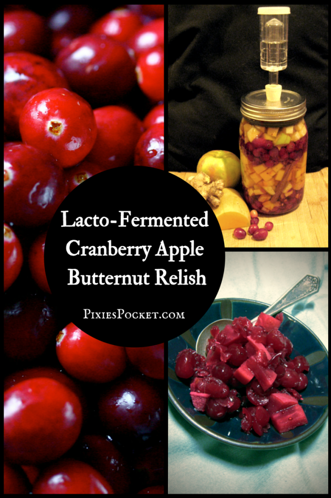 Lacto fermented cranberry apple butternut relish