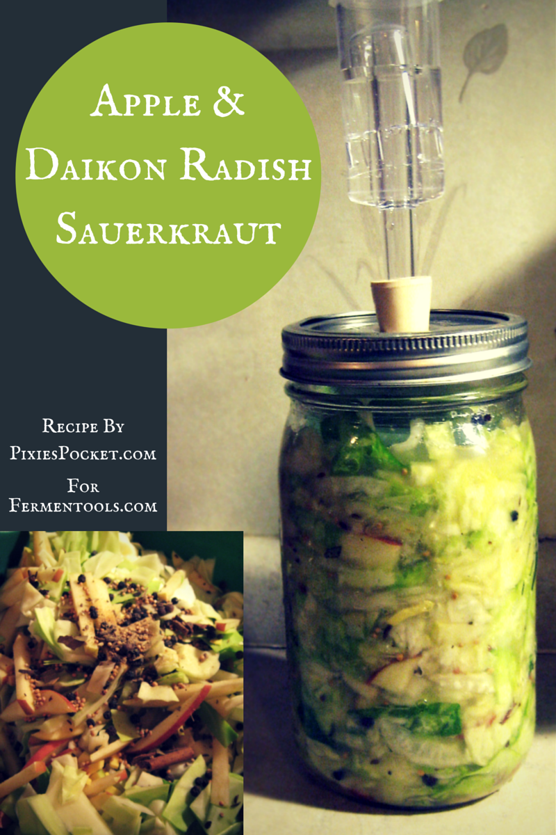 Apple & Daikon Radish Sauerkraut from Pixiespocket.com