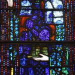 Stained glass image of St Gobnait in the Honan Chapel, ft. on pixiespocket.com