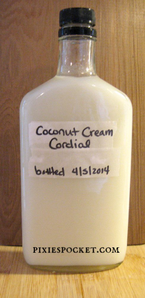 Coconut cream cordial recipe from pixiespocket.com