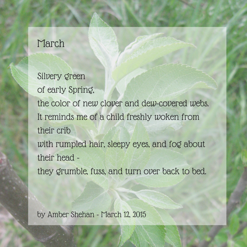 A poem about March from Amber Shehan on pixiespocket.com