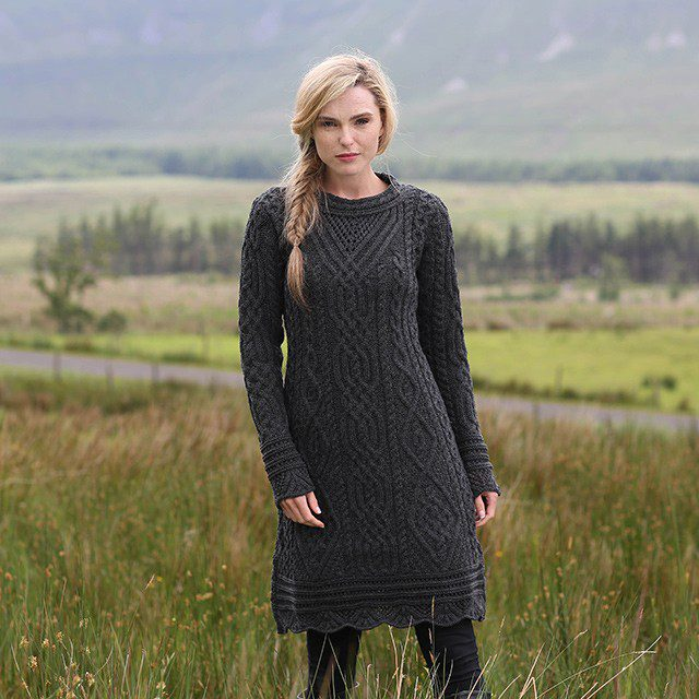 Irish Aran Dress With Scallop Lace
