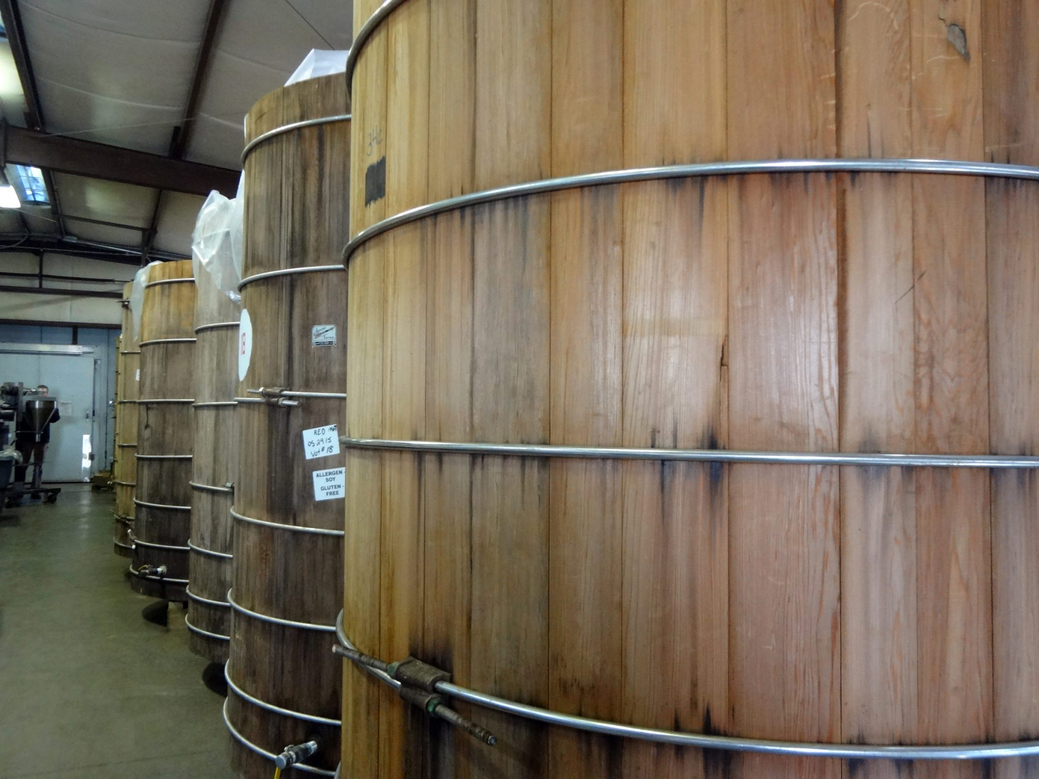 Miso Master tour, as seen on pixiespocket.com: The hand-crafted wooden vats, each with 4 tons of aging miso.