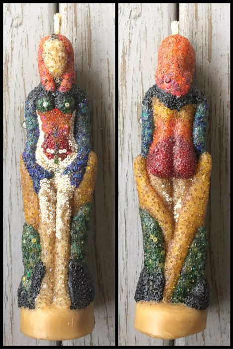 beaded goddess beeswax candle - pixiespocket.com