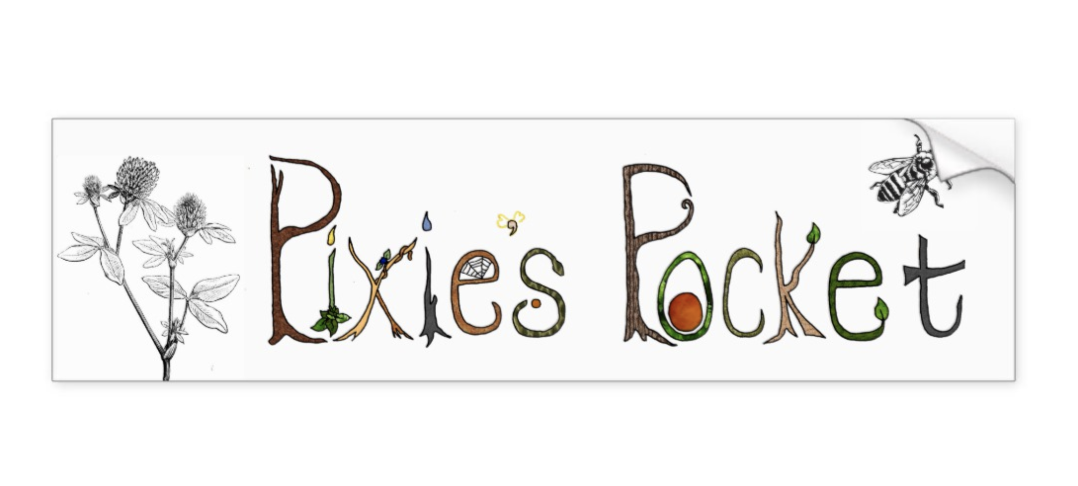 pixie's pocket logo bumper sticker