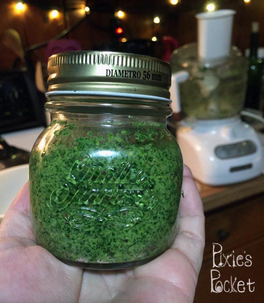 Garlic Mustard Pesto Recipe from PixiesPocket.com - Eat your weeds!