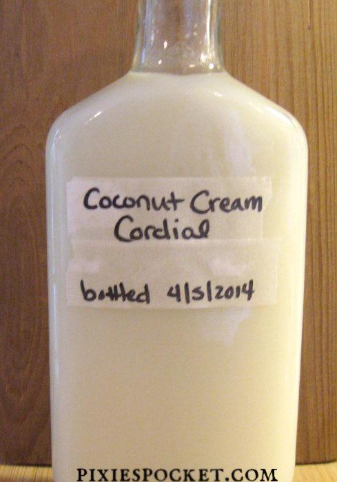 Coconut cream cordial recipe from pixiespocket.com