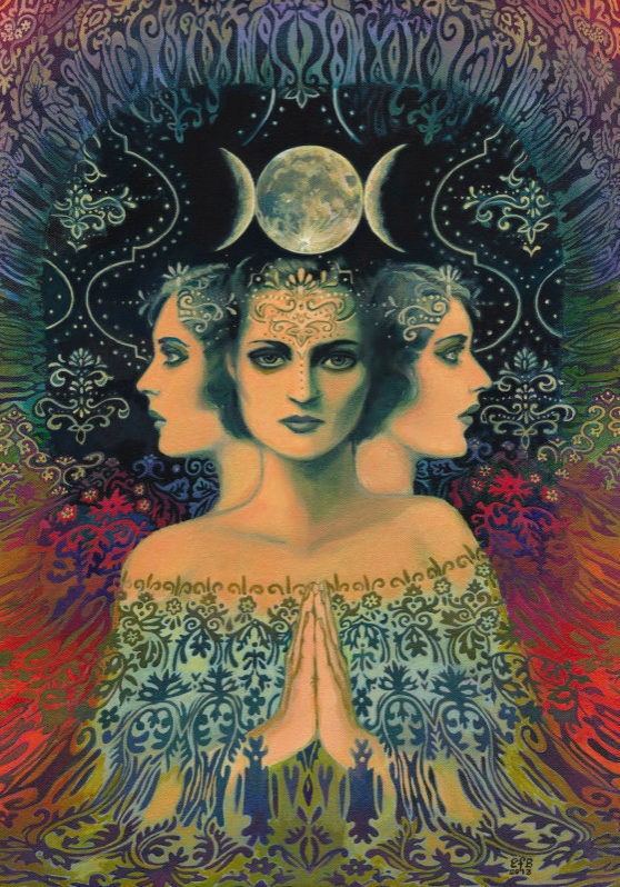 Moon Goddess of Mystery Psychedelic Tarot Art by Emily Balivet