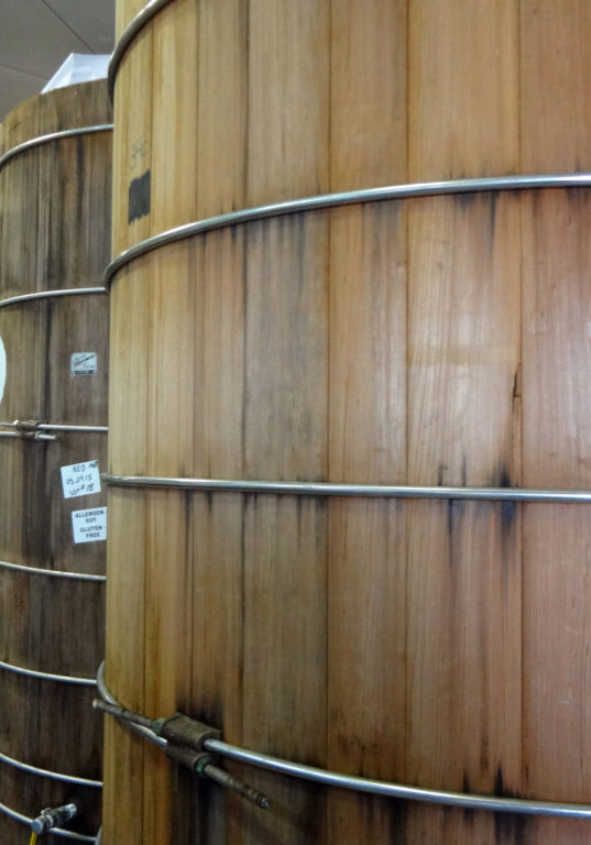 The hand-crafted wooden vats where miso ages
