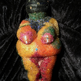 Beaded Beeswax Fertility Goddess Candle